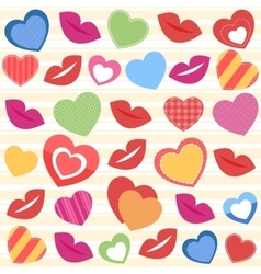 Background with colorful hearts and lips vector image vector image