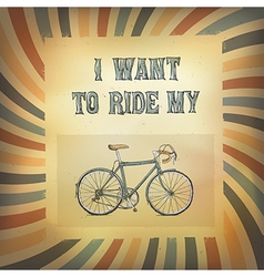 bicycle retro rays poster vector image