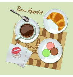 Coffee and snacks set top view vector image vector image