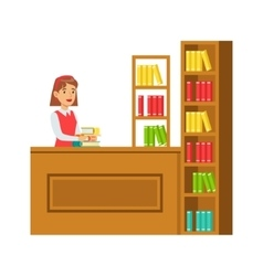 Librarian Putting The Books Back On Bookshelf vector image vector image
