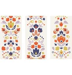 Three ornamental folk tulips vertical seamless vector image