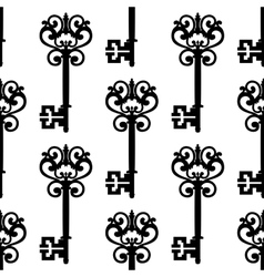 Vintage keys with bows seamless pattern vector image vector image