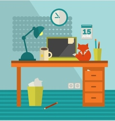 Workplace with notebook and cute red fox near vector image