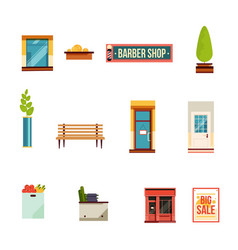 city street icons set flat style vector image vector image