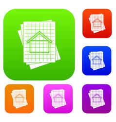 House blueprint set collection vector