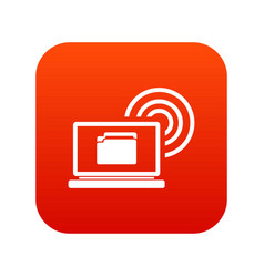 laptop and and wireless icon digital red vector image vector image