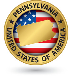 Pennsylvania state gold label with state map vector image