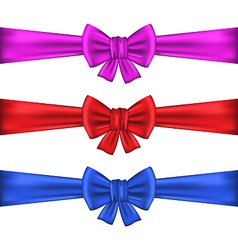 Set colorful gift bows with ribbons vector image vector image