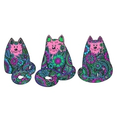 Set of three hand drawn doodle colorful cats vector image