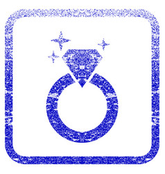 Sparkle diamond ring framed textured icon vector