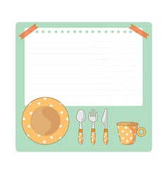 Tableware And Notepad Cartoon vector image