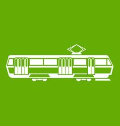 tram icon green vector image