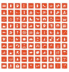 100 joy icons set grunge orange vector