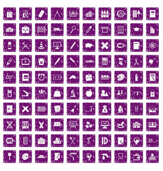 100 pensil icons set grunge purple vector