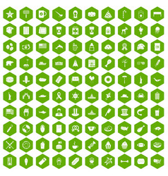 100 usa icons hexagon green vector