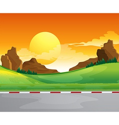 A beautiful landscape and the bright sun in the vector