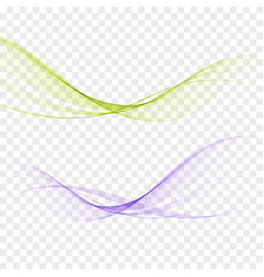 abstract elegant light waves set in blue green vector image