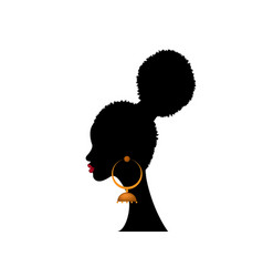 Afro hairstyles woman hair bun style for curly vector