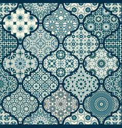 Arabic decorative azulejos tiles patchwork vector