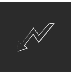 Arrow downward icon drawn in chalk vector image