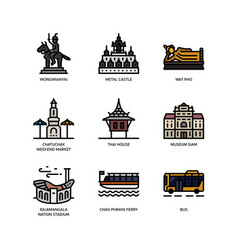bangkok symbols and landmarks icons vector image