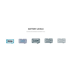 Battery levels icon in different style two vector