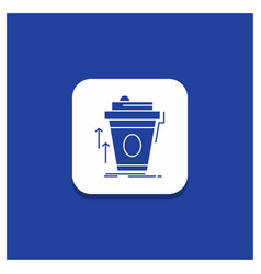 Blue round button for product promo coffee cup vector