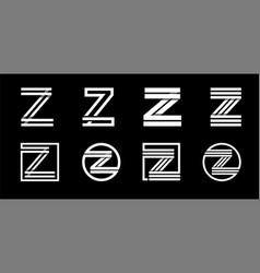 Capital letter z modern set for monograms logos vector