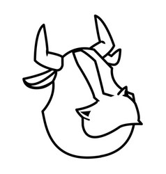 Cartoon funny bull horn farm animal vector