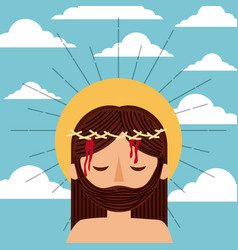 Cartoon jesus christ with crown thorns clouds sky vector
