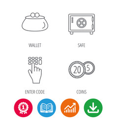 cash money safe box and wallet icons vector image