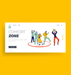 Characters leaving comfort zone landing page vector