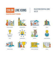 color icons school equipment language school vector image