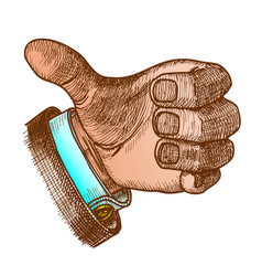 Color man hand gesture thumb finger up doodle vector