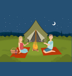 couple sitting near bonfire and roasting vector image