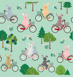 cute rabbits the gang with bicycle pattern vector image