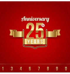 Decorative golden emblem of anniversary vector image