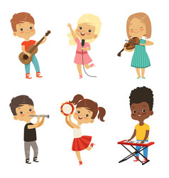 Different kids singing musicians isolate on white vector