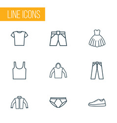 Dress icons line style set with pants underpants vector