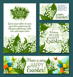easter floral greeting card and banner template vector image