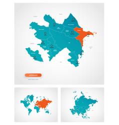 Editable template map azerbaijan with marks vector