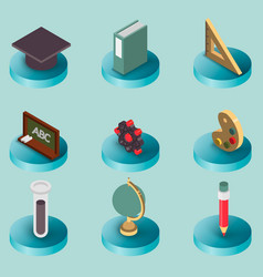 education flat isometric set vector image