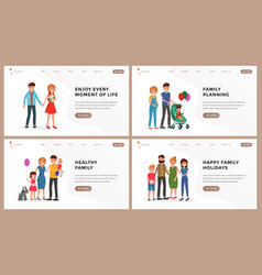 family website landing page flat set vector image