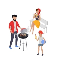Father and Son Preparing Barbecue vector image
