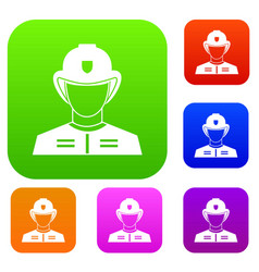 firefighter set collection vector image