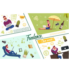 flat freelance template vector image