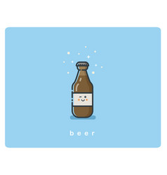 flat icon friendly beer bottle character vector image