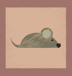 flat shading style icon pet mouse vector image