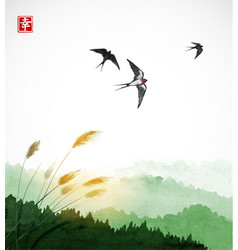 Flying swallow birds green grass and forest vector
