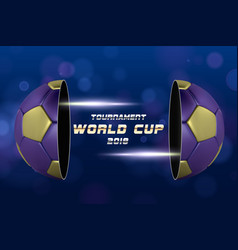 football banner with 3d golden blue ball soccer vector image
